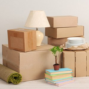 cardboard boxes at home